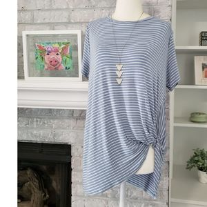 Blue & white twist side striped top